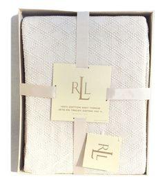 Lauren Ralph Lauren 100% Cotton Knit Throw Blanket in Hollywood Cream #RalphLauren