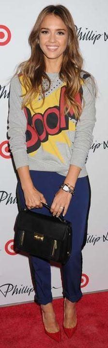 Jessica Alba: Sweatshirt, pants, and purse  -3.1 Philip Lim for Target  Shoes – Jimmy Choo