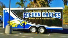 San Pasqual High School marching band/color guard trailer