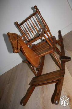 Cheval à bascule en bois vintage cleashop78