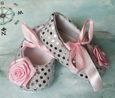 Baby Girl silver and pink Crib Shoes  infant sequin Shoes,Christening, Baptism, Wedding, Ready to ship by TheBabyBellaBoutique on Etsy https://www.etsy.com/listing/242819723/baby-girl-silver-and-pink-crib-shoes