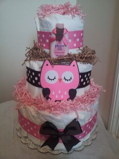 Pink and Brown OWL 3 tier diaper cake, baby shower decoration via Etsy