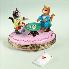 Limoges Cats Playing Bridge Limoges Trinket Box The Cottage Shop