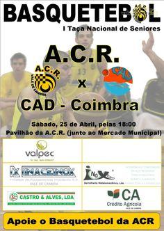 Basquetebol: ACR Vale de Cambra vs CAD Coimbra > 25 Abr, 18h @ Pavilhão da ACR, Vale de Cambra  _Taça Nacional de Seniores_  #ValeDeCambra #basquetebol