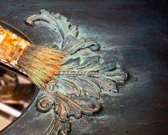16 Faux Verdigris Paint Technique Copper Mine Dry Brushing