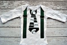 Michigan State Spartans College Football Inspired Green & White Tie and Suspenders Onesie - Made to Order - 0-3M through 24M