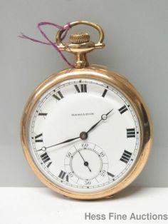 Antique 12S Hamilton 910 17J Gold Filled Pocket Watch #Hamilton