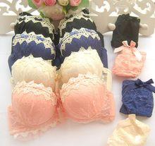 Mujeres conjunto de ropa interior Sostén Conjuntos lencería femenina Ruffle Push-Up Encaje sujetador mariposa resumen la ropa interior del sujetador conjuntos (China (continental))