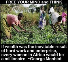 If wealth was the inevitable result of hard work and enterprise, every woman in africa would be a millionarie. - George Monbiot