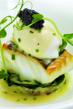 Fillet of cod with poached hen's egg, crushed Jersey Royals and chive butter sauce This exciting cod recipe from Mark Jordan provides a quick, easy and relatively cheap meal that packs a fantastic flavour. Cod Fillet Recipes, Cod Recipes, Fish Recipes, Seafood Recipes, Gourmet Recipes, Cooking Recipes, Gourmet Desserts, Gourmet Foods, Fancy Recipes