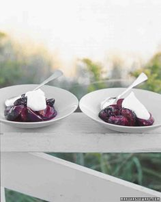 What's for dessert? Roasted Plums with Creme Fraiche! Italian plums, sometimes called prune plums, can be found at farmers markets during the summer months. Get the recipe by clicking through.