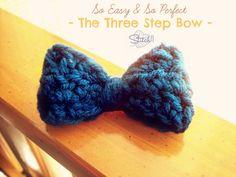 The Three Step Crochet Bow - free #crochet pattern on Stitch11!