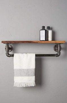 Anthropologie Pipework Towel Rack Found on my new favorite app Dote Shopping Towel Rack Bathroom, Bathroom Shelves, Small Bathroom, Towel Racks, Towel Shelf, Towel Holder, Bath Shelf, Do It Yourself Inspiration, Pipe Furniture