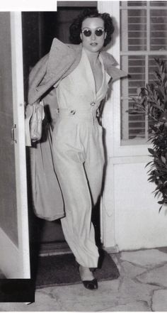 Joan Crawford emerges from her dressing room Hollywood California, 1933.