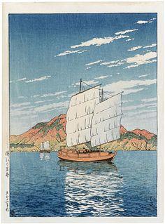Kawase Hasui (1883-1957): Selection of Scenes from Japan: Boat Transporting Rocks, Bingo, woodblock print, ca. 1923. SOLD.