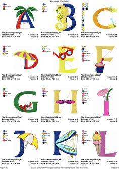 Coleção De Bordados Alfabeto Divertido Praia - R$ 5,99 no MercadoLivre
