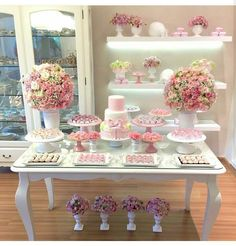 Create your perfect party with various decorations like the picture below!Choose from some of plain and themed birthday party decorations including banners, bunting, paper decorations, pom poms,baloon and more. Candy Table, Candy Buffet, Dessert Table, Shower Party, Baby Shower Parties, Bridal Shower, Birthday Table, Baby Birthday, Birthday Party Decorations