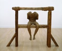 """""""DYBY"""", 1993, Magdalena Abakanowicz, Polish (b. 1930), burlap, resin and wood, 63 x 82 5/8 x 25 5/8 in. Museum purchase with funds from the Tannenbaum-Sternberger Foundation in honor of Leah Louise Tannenbaum, 2000. 2000.28.a-.f"""