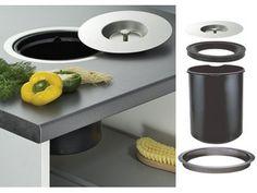 stillig løsning for matavfall på kjøkkenbenken