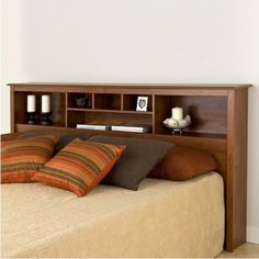 solid wood king sized captain 39 s bed with full bookshelf. Black Bedroom Furniture Sets. Home Design Ideas