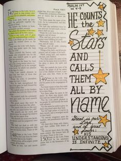 Psalm 147:4-5 Scripture Journaling Bible doodle art