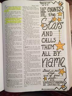 Psalm 147:4-5 Scripture Journaling Bible doodle art