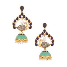 A scintillating pair of earrings matched with flawless designing over the  yellow gold plated ornament. 68dd1dc78251