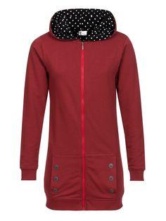 Pussy Deluxe Longsweater Coat red Lining Dotties white on black Frauen Mantel Damen Sweater, Hoodies & Cardigans