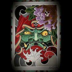 Japanese Mask, Japanese Tattoo Art, Body Art Tattoos, Hand Tattoos, Irezumi, Hannya Mask Tattoo, Daruma Doll, Doll Tattoo, Chinese Dragon Tattoos