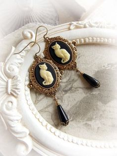 Gothic cat cameo earrings gothic victorian by MidnightVision