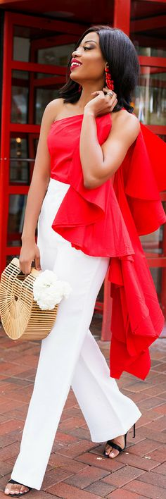 Cascading Red Ruffle // Summer Outfit Idea by JADORE-FASHION