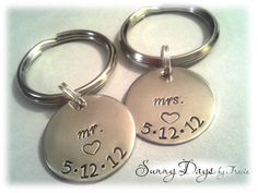 Mr and Mrs Matching Couples Keychain Wedding by SunnyDaysByTracie, $36.50