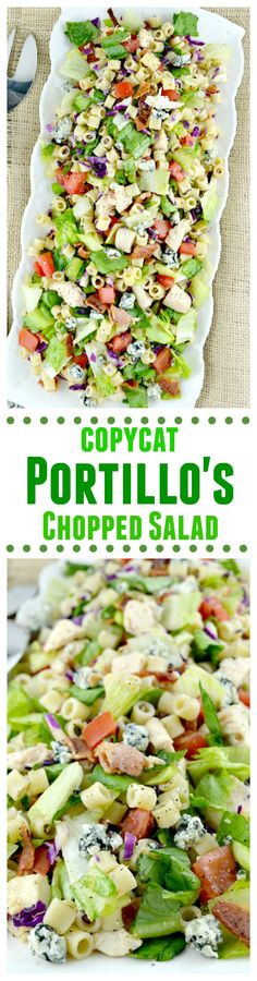 Portillo's Chopped Salad-this is a copycat recipe just like the delicious restaurant version. Loaded with great veggies, lots of goodies and dressed in a sweet Italian dressing, Portillo's Chopped Salad-(With Video!) A Copycat Recipe Of The BEST Sa Copycat Recipes, New Recipes, Healthy Recipes, Recipies, Avocado Recipes, Popular Recipes, Delicious Restaurant, Restaurant Recipes, Pasta Recipes