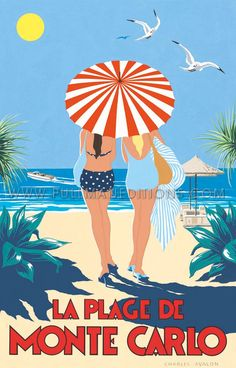vintage poster - Monte Carlo beach