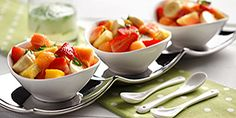 Fruit salads make a perfect light meal or side. Fruit salad with mojito sauce