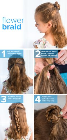 Try this easy flower braid for kids. It's a simple hairstyle that works for long or medium hair. Follow this tutorial.