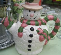 Christmas Decorative Snowman Teapot 8 inch White Scarf