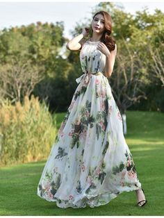 Chiffon Green Pink Flower Long Party Dress Evening Wedding Lightweight Sundress Summer Holiday Beach Dress Bridesmaid Dress Maxi Skirt Detail Info: ❤ Color: New Green pink flower as picture More color choice link: Floral Print Gowns, Floral Gown, Beautiful Dresses, Nice Dresses, Summer Dresses, Maternity Photo Dresses, Moda Floral, Simple Gowns, Indian Gowns Dresses