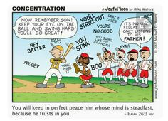 """Tools Concentrate on God. """"You will keep in perfect peace him whose mind is steadfast, because he trusts in you."""" Isaiah on God. """"You will keep in perfect peace him whose mind is steadfast, because he trusts in you. Christian Comics, Christian Cartoons, Funny Christian Memes, Christian Humor, Christian Life, Christian Quotes, Bible Verses Quotes, Bible Scriptures, Faith Quotes"""