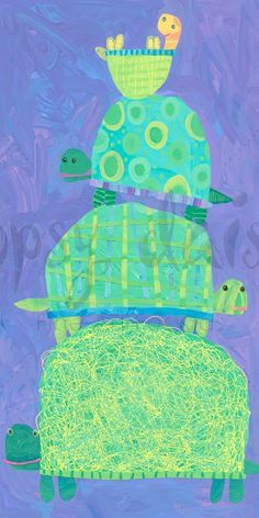 K sub plan---Turtle Stack - Animals Canvas Wall Art | Oopsy daisy