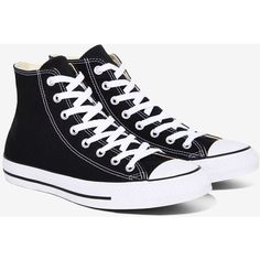 Converse Chuck Taylor All Star High-Top Sneaker ($60) ❤ liked on Polyvore featuring shoes, sneakers, converse, black canvas sneakers, white hi top sneakers, black hi top sneakers, converse sneakers and canvas lace up sneakers
