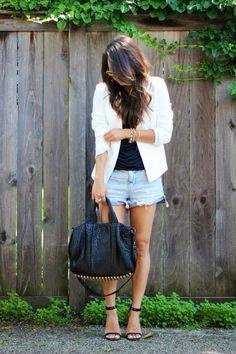white blazer & shorts
