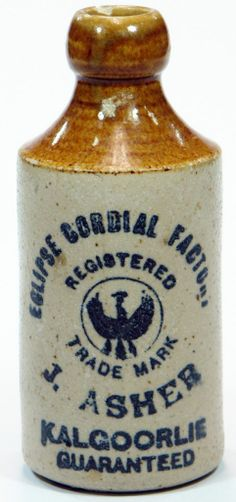 36f91544a44c Eclipse Cordial Factory. J. Asher. Kalgoorlie. Guaranteed. Royal Eagle  trade mark. Internal thread type