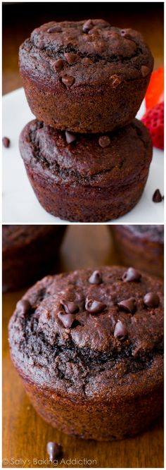Skinny Double Chocolate Muffins from sallysbakingaddiction.com. You will not even realize these double chocolate muffins are lightened-up and low fat!
