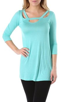 Mint cutout detail tunic top. Keep it casual by pairing this piece with leggings or dress it up with jeans and a blazer.    Mint Top by Luxe USA. Clothing - Tops - Casual Delaware
