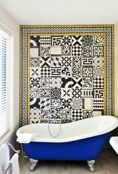 To da loos: Mix matched patchwork pattern tile bathrooms