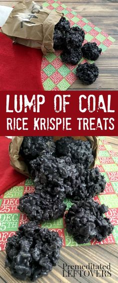 This Lump of Coal Rice Krispie Treats Recipe is fun to make and receive around Christmas! Oreos and food coloring help these treats look just like coal! food Lump of Coal Rice Krispie Treats Recipe Christmas Snacks, Christmas Cooking, Christmas Goodies, Holiday Treats, Holiday Recipes, Christmas Holidays, Christmas Popcorn, Christmas Coal, Rice Crispy Christmas Treats