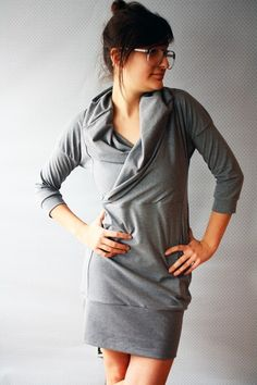 Grey Cowl Dress by Replicca on Etsy