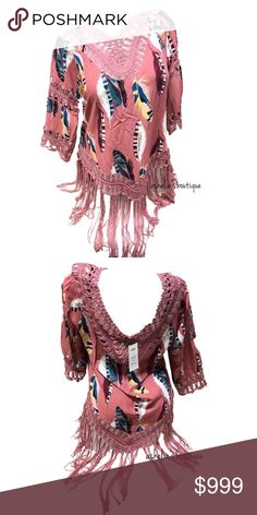 """New~ Boho Feather Crochet Tunic Top Feather Crochet Tunic Blouse Top  Mini dress  Condition: New with tags Size: M Medium Color: Mauve pink Product Details:  Great to wear during spring or summer. Style with leggings, Jeggings, or cover a bikini   Can be worn as a Tunic top or mini dress Beautiful boho feather print 3/4 sleeves Crochet accents on neckline, sleeves & hem Frill bottom 65% cotton, 35% Polyester Measurements: Chest- 19"""", Length- 26"""", Sleeves- 11"""" All measurements are made flat…"""