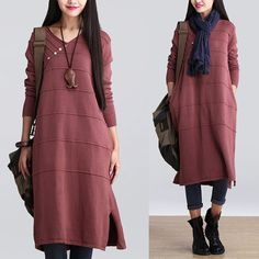 Red V-neck hedging dress / casual long-sleeved cotton dress was thin wool sweater dress : Pulls, gilets par dreamyil